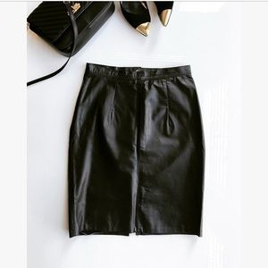 Black genuine leather pencil skirt